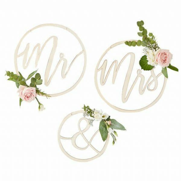 Gold Wedding Mr & Mrs Wooden Hoop Decorations - 35cm